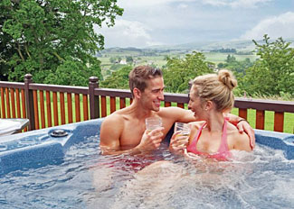 Holiday Lodge with outdoor hot tub at Nunland Hillside Holiday Park in Scotland - Galloway Hill Top Lodge ( Ref LP6434)