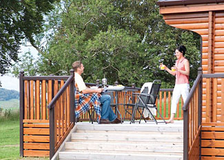 View of verandah at Galloway Hilltop Lodge ( Ref LP6434 )Nunland Holiday Lodge near Dumfries in South West Scotland
