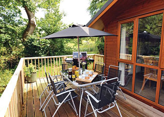 Herons Brook Holiday Lodge verandah - Hornbeam Lodge ( Ref LP6272 ) Lodge accommodation near Narbeth Wales