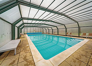Covered swimming pool at Penvale Lakes Lodges in Llangollen Denbighshire Wales