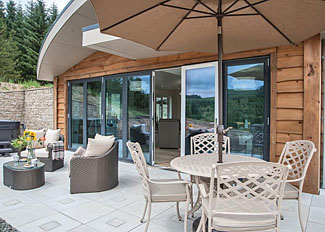 Decking area of Bradbury Lodge - Straker Holiday Lodges in Kielder Water and Forest Park Northumberland UK