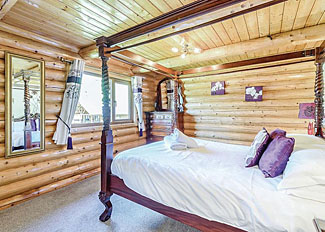 Four poster bed in Superior Lodge ( Ref LP2371 ) Accommodation at Black Hall Lodges Knighton near Shrewsbury Shropshire England
