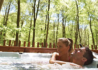 Outdoor hot tub at Blackwood Forest Holiday Lodges - Accommodation near Micheldever in Hampshire UK