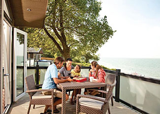 Decked area at Osborne View Premier Lodge ( Ref LP8752 ) Holiday Lodge at Woodside Coastal Retreat Isle of Wight England