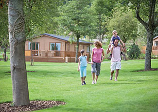 Setting of holiday lodges at Cheddar Woods Resort and Spa in Somerset England