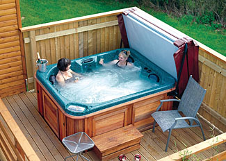 Outdoor hot tub at Haughmond Lodge ( Ref LP3493 ) Holiday Lodges near Shrewsbury Shropshire