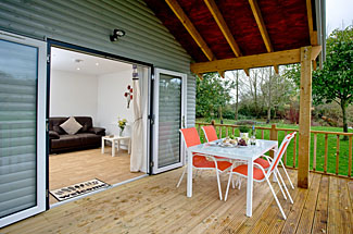 Terrace at Redlake Farm Holiday Lodges - Kingfisher Lodge at Littleton near Somerton in Somerset England