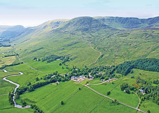 Aerial view of Glen Clova Holiday Park in Angus Scotland