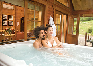 Hot tub at Clova Lodge ( Ref LP4598 ) Lodge Accommodation at Glen Clova Lodges Angus Scotland