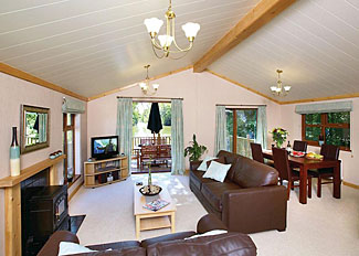Living area of typical Lakeside Elm (Pet Friendly) Lodge ( Ref LP6737 ) Devon holiday lodge in Cullompton England - Upton Lakes Accommodation