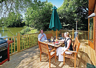 Park setting at Upton Lakes Holiday Lodges near Cullompton Devon England