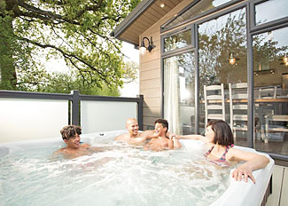 Hot tub at Coleridge Premier Lodge ( Ref LP11527 ) Devon holiday park near Axminster - Hawkchurch Resort and Spa