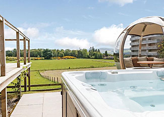 Rotating Sphere and Hot Tub at Cromarty Lodge - Kessock Highland Holiday Lodges at North Kessock near Inverness Scotland
