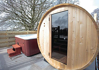 Nunland Hillside Holiday Lodges - Sauna and hot tub at Criffel Hilltop VIP Lodge ( Ref LP12481 ) Scotland Holiday Lodge near Dumfries