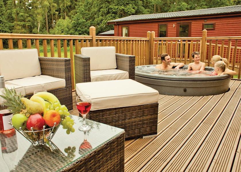 Enjoy your outdoor hot tub! at Bainland Holiday Lodges Woodhall Spa Lincolnshire England