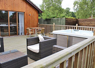 Decking area at Gunby Lodge ( Ref LP7574 ) Bainland Holiday Park in Lincolnshire England