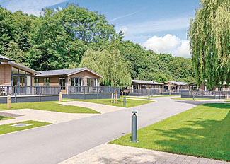 Setting of holiday lodges at Bath Mill Lodge Retreat - Self Catering Lodge Accommodation at Newton Saint Loe in Somerset England