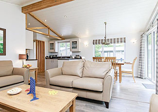 Photo of living space in typical Hartfield Watersedge Lodge ( Ref LP9043 ) Bath Mill Lodge Retreat - Self catering accommodation in Newton Saint Loe Somerset England