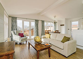 Living area in Cranbrook Lodge ( Ref 14307 ) Canterbury Reach Holiday Lodges in Kent UK