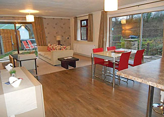 Herons Lake Retreat Caerwys - Living area in Moorhen Cottage ( Ref LP14864 ) Holiday Accommodation in Flintshire Wales