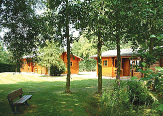 Lodges in a woodland setting - Ledbury Holiday Park in Herefordshire England - Woodside Lodges Country Park