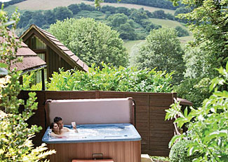 Hot tub at Exmoor Gate Lodge Holiday Lodges near Waterrow Somerset England - Exmoor Gate Holiday Park