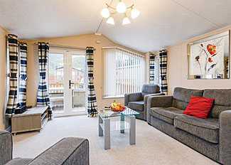 Interior of typical Mendip Premier 3 - Holiday Home ( Ref LP8239 ) Self catering accommodation near Cheddar Gorge Somerset - Cheddar Woods Resort and Spa