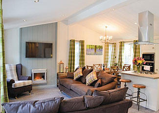 Alder 4 Premier Lodge open plan living area ( Ref LP14229 ) Holiday Lodge at Wareham Forest Lodge Retreat in Dorset
