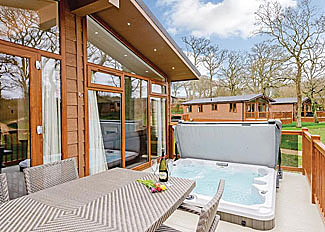 Hazel 3 Premier Lodge decking with outdoor hot tub ( Ref LP14236 ) Wareham Forest Lodge Retreat Holton Heath Dorset