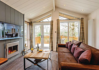 Living area in Willow 1 Premier Lodge ( Ref 14240 ) Wareham Forest Accommodation in Holton Heath Dorset