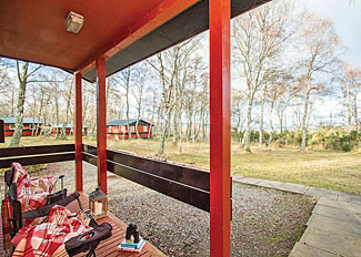 Verandah at Bracken 2 Lodge ( Ref LP11487 ) Self Catering Lodge Accommodation at Kiltarlity Lodges Beauly Scotland