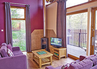 Typical Golden Oak 2 Lodge living area ( Ref LP4135) Self Catering Lodge Accommodation at Deerpark Forest in Cornwall England